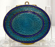 Teal Enamel Guilloche Compact