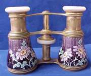 Purple Floral Enamel Guilloche Opera Glasses