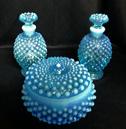 Fenton Blue Opalescent Vanity Set