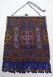 Carpet Beaded Purse with Sterling Frame