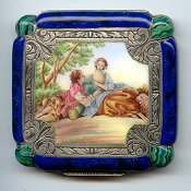 RARE Pillow Shape Italian Sterling Vermeil Figural Compact featuring Romantic Couple and Sheep