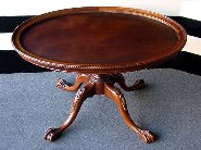 Oval Mahogany ClawfootTable with Removable Glass Top