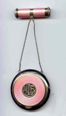 RARE Large Pink Enamel Guilloche Sterling Silver Tango Compact w/Swivel Lipstick - Made in Austria