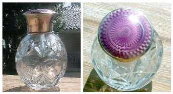Faceted Crystal Perfume with Sterling Silver Lavender Enamel Guilloche Top