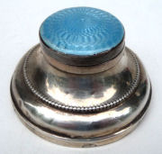 Sterling Silver and Enamel Guilloche Inkwell