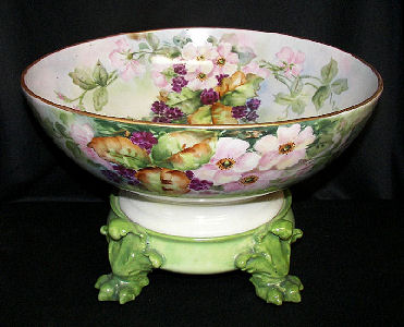 Limoges Punch Bowl and Claw Foot Plinth Base