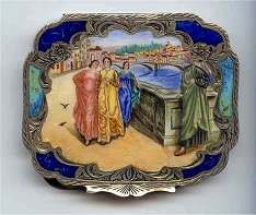 Italy Sterling Vermeil Figural Compact Ladies in Venice
