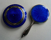 Enamel Guilloche Compact and Mirror