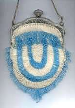 Pretty Blue and White Beaded Purse with Embossed Frame