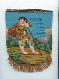 Figural Schoolboy w/Backpack & Walking Stick Beaded Reticule from Caldwell Collection