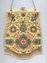 MINT Condition Micro-Beaded Carpet Design Purse with Jeweled Frame marked Germany