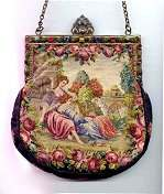Double-Sided Figural and Scenic Petitpoint Purse w/ Jeweled Frame