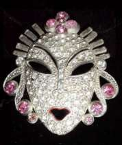 Super Deco Mask Pin in Pave' Rhinestones with Pink Accents by Reina