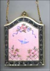 DFB Co. Vanity Purse in Rare Pink Color with Bluebird, Roses, & Ribbon