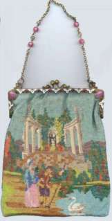 Figural Beaded Purse with Jeweled and Enameled Frame