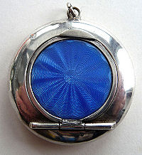 Sterling Silver Enamel Guilloche Pendant Compact