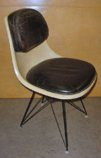 Eames Chair with Leather Pad Seat and Back