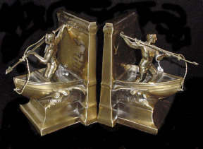 Pair of Brass Bookends by Philadelphia Manufacturing company