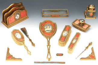 French Bronze Enamel Guilloche Vanity Set