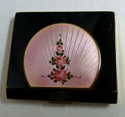 Black and Pink Enamel Guilloche Compact