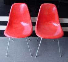 Eames Red Shell Chairs - Click for Larger Image